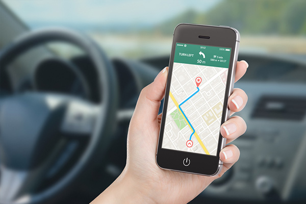 A navigational app on a smartphone.